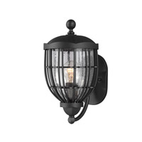 River North 1 Light 13 inch Textured Black Outdoor Lantern Wall Sconce in Standard