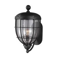 River North 1 Light 21 inch Textured Black Outdoor Lantern Wall Sconce in Standard