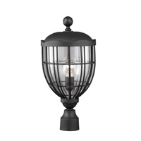 River North 1 Light 19 inch Textured Black Outdoor Post Lantern in Fluorescent
