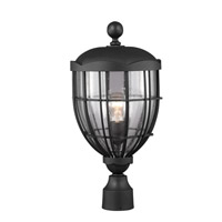 River North 1 Light 23 inch Textured Black Outdoor Post Lantern in Fluorescent
