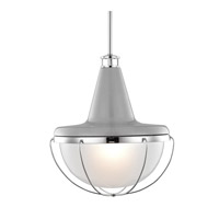Livingston 1 Light 14 inch High Gloss Gray and Polished Nickel Pendant Ceiling Light in Standard