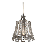 Feiss Soros 1 Light Pendant in Ebonized Silver Leaf P1315ESL