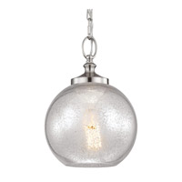 Tabby 1 Light 9 inch Brushed Steel Pendant Ceiling Light in Standard, Silver Mercury Plating Glass