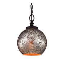 Tabby 1 Light 9 inch Oil Rubbed Bronze Pendant Ceiling Light in Standard, Brown Mercury Plating Glass