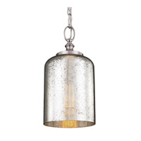 Hounslow 1 Light 7 inch Brushed Steel Pendant Ceiling Light in Standard, Silver Mercury Plating Glass
