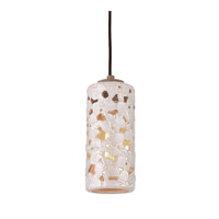 Feiss Azalia 1 Light Pendant-Mini in White Taupe Ceramic and Beach Wood P1323WTPC/BD