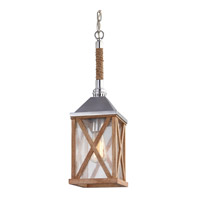Feiss Lumiere 1 Light Pendant in Natural Oak and Brushed Aluminum P1326NO