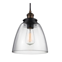 Feiss Baskin 1 Light Pendant in Painted Aged Brass / Dark Weathered Zinc P1347PAGB/DWZ