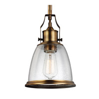 Feiss P1354AGB Hobson 1 Light 8 inch Aged Brass Mini-Pendant Ceiling Light in Standard