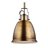 Feiss Hobson 1 Light Pendant in Aged Brass P1359AGB-F