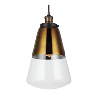 Feiss Waveform 1 Light Pendant in Painted Aged Brass / Dark Weathered Zinc P1373PAGB/DWZ-F