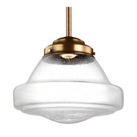 Feiss P1380AGB-LED Alcott 1 Light 12 inch Aged Brass Pendant Ceiling Light in Integrated LED Clear Seedy Glass