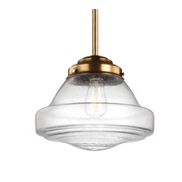 Feiss P1380AGB Alcott 1 Light 12 inch Aged Brass Pendant Ceiling Light in Standard, Clear Seedy Glass