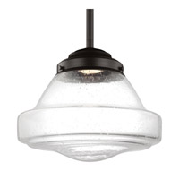 Feiss P1380ORB-LED Alcott 1 Light 12 inch Oil Rubbed Bronze Pendant Ceiling Light in Integrated LED, Clear Seedy Glass