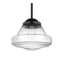 Feiss P1380ORB Alcott 1 Light 12 inch Oil Rubbed Bronze Pendant Ceiling Light in Standard, Clear Seedy Glass