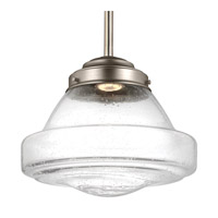 Feiss P1380SN-LED Alcott 1 Light 12 inch Satin Nickel Pendant Ceiling Light in Integrated LED White Opal Shiny Glass