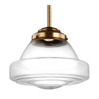 Feiss P1382AGB-LED Alcott 1 Light 14 inch Aged Brass Pendant Ceiling Light in Integrated LED, Clear Seedy Glass