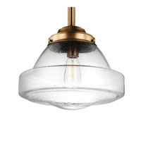 Feiss P1382AGB Alcott 1 Light 14 inch Aged Brass Pendant Ceiling Light in Standard, Clear Seedy Glass