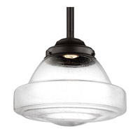 Feiss P1382ORB-LED Alcott 1 Light 14 inch Oil Rubbed Bronze Pendant Ceiling Light in Integrated LED, Clear Seedy Glass