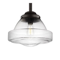 Feiss P1382ORB Alcott 1 Light 14 inch Oil Rubbed Bronze Pendant Ceiling Light in Standard, Clear Seedy Glass