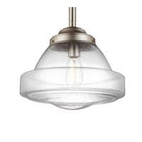 Feiss P1382SN Alcott 1 Light 14 inch Satin Nickel Pendant Ceiling Light in Standard, Clear Seedy Glass