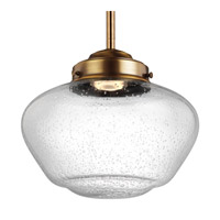 Feiss P1384AGB-LED Alcott 1 Light 10 inch Aged Brass Pendant Ceiling Light in Integrated LED, Clear Seedy Glass