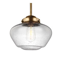 Feiss P1384AGB Alcott 1 Light 10 inch Aged Brass Pendant Ceiling Light in Standard, Clear Seedy Glass