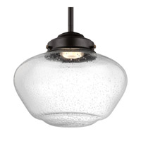 Feiss P1384ORB-LED Alcott 1 Light 10 inch Oil Rubbed Bronze Pendant Ceiling Light in Integrated LED, Clear Seedy Glass