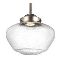 Feiss P1384SN-LED Alcott 1 Light 10 inch Satin Nickel Pendant Ceiling Light in Integrated LED, White Opal Shiny Glass