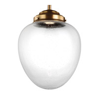 Feiss P1401AGB-LED Alcott 1 Light 11 inch Aged Brass Pendant Ceiling Light in Integrated LED, Clear Seedy Glass