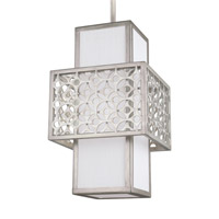 Feiss Kenney 1 Light Pendant in Sunrise Silver with White Linen Fabric Shade P1421SRS