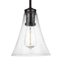 Feiss Marteau 1 Light Pendant in Oil Rubbed Bronze with Clear Seeded Glass P1427ORB