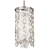 Lexi 1 Light 7 inch Polished Nickel Mini-Pendant Ceiling Light, Sandblast Glass, White Shantung