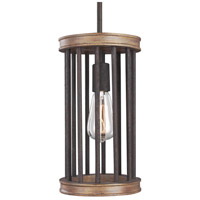 Locke 1 Light 7 inch Weathered Rustic Iron and Textured Weathered Oak Mini-Pendant Ceiling Light