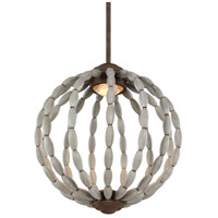 Orren LED 14 inch Driftwood Grey and Weathered Iron Pendant Ceiling Light, Clear Crystal Glass