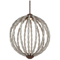 Feiss Orren LED Pendant in Driftwood Grey and Weathered Iron with Clear Crystal Glass P1432DWG/WI-LED