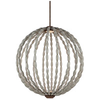 Orren LED 32 inch Driftwood Grey and Weathered Iron Pendant Ceiling Light, Clear Crystal Glass