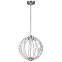 Oberlin LED 14 inch Satin Nickel Pendant Ceiling Light, Clear Crystal Glass