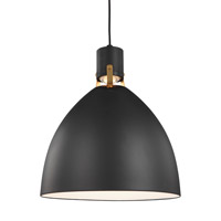 Feiss P1443MB-L1 Brynne LED 17 inch Matte Black / Chrome Pendant Ceiling Light