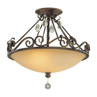 Feiss SF190MBZ Chateau 2 Light 16 inch Mocha Bronze Semi Flush Mount Ceiling Light in Standard, Antique Excavation Glass
