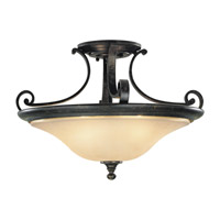 Cervantes 2 Light 18 inch Liberty Bronze Semi Flush Mount Ceiling Light in Standard, Frost Amber Glass