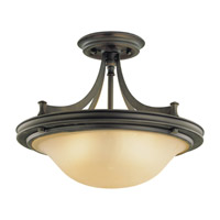 Pub 3 Light 15 inch Oil Rubbed Bronze Semi Flush Mount Ceiling Light in Standard