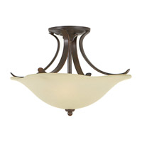 Morningside 2 Light 15 inch Grecian Bronze Semi Flush Mount Ceiling Light in Cream Snow Glass