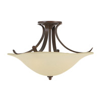Feiss SF214GBZ Morningside 3 Light 18 inch Grecian Bronze Semi Flush Mount Ceiling Light in Cream Snow Glass