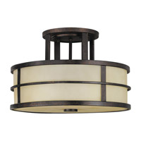 Fusion 3 Light 14 inch Grecian Bronze Semi Flush Mount Ceiling Light in Standard