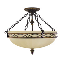 Drawing Room 3 Light 23 inch Walnut Semi Flush Mount Ceiling Light in Standard