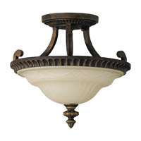 Drawing Room 2 Light 15 inch Walnut Semi Flush Mount Ceiling Light in Standard