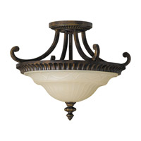 Drawing Room 2 Light 17 inch Walnut Semi Flush Mount Ceiling Light in Standard