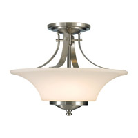 Barrington 2 Light 15 inch Brushed Steel Semi Flush Mount Ceiling Light in Dark Cream Scavo Glass
