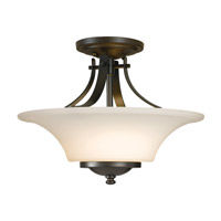 Feiss SF241ORB Barrington 2 Light 15 inch Oil Rubbed Bronze Semi Flush Mount Ceiling Light in Opal Etched Glass